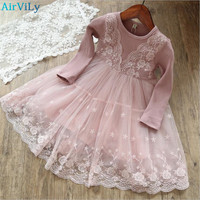 Girls Dress 2018 New Girls Clothes Long Sleeve Lace Patchwork Children Clothing Baby Girl Dresses Kids