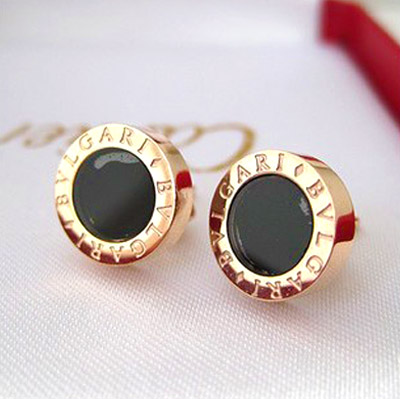Fashion polaroid vinyl women s stud earring rose gold titanium circle lovers earrings stud earring accessories