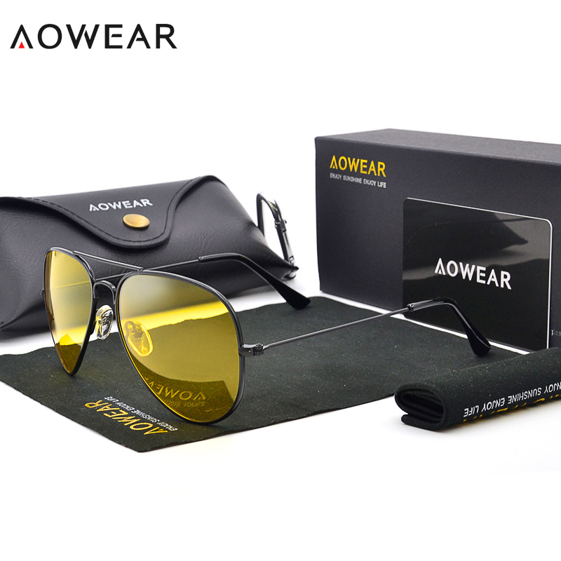 AOWEAR Classic 3025 Night Vision Glasses Women Polarized Yellow Lens Sunglasses For Men Night Goggles Driving Sunglass With Box