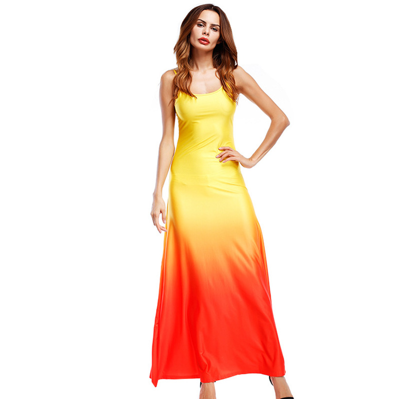 Sexy Boho Womens O-Neck Sleeveless 2017 Summer Runway Beach Party Off Shoulder Strapped Maxi Long Dress Loose Sundress Vestidos