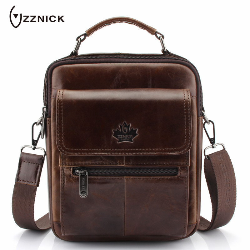 ZZNICK Genuine Leather Male Bag Casual Men's Messenger Bag Hot Sale Small Crossbody Shoulder Bags Travel New Handbags For Man zznick 2018 new men s small shoulder bag genuine cowhide leather messenger bags for men casual small crossbody bag travel bags