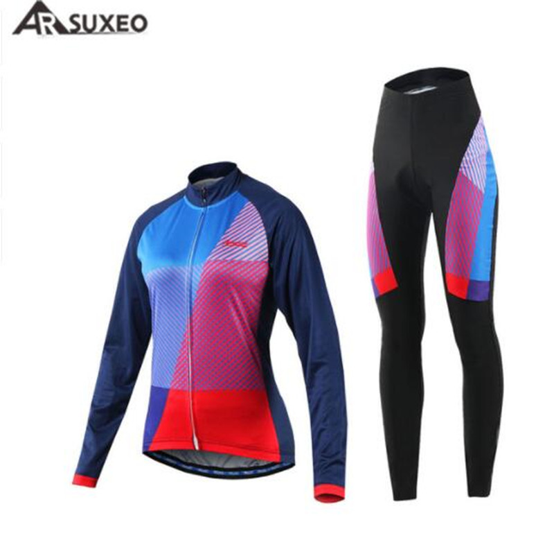 ARSUXEO Women Cycling Jersey MTB Bike Bicycle Shirts Jerseys Paded Clothing Maillot Ciclismo Motocross