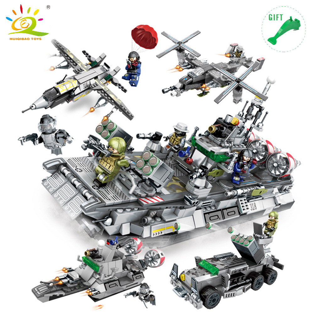 HUIQIBAO TOYS 701pcs 4 in 1 Military Sea Fleet DIY Fighter Tank Building Blocks Bricks Set Compatible Legoe Military Toy For Kid 8004 12 in 1 kid s bathing non toxic vinyl squeaky toys set multicolored