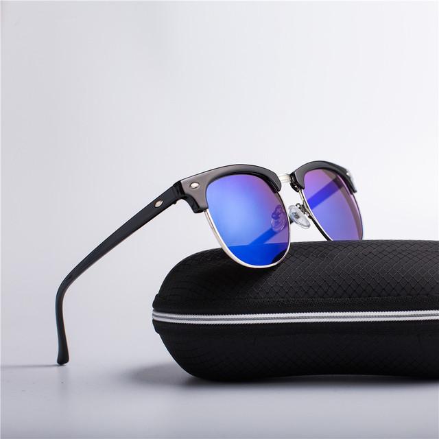 e1cf5596368e Half Metal Fashion Sunglasses Men/Women Brand Designer Retro Rivet ...