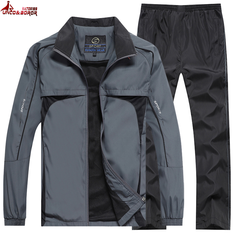 New Men's Spring Autumn Sportswear Brand Tracksuit Male Outwear 2pcs Sweatshits + Pant Set Casual Track Suit Men Clothing