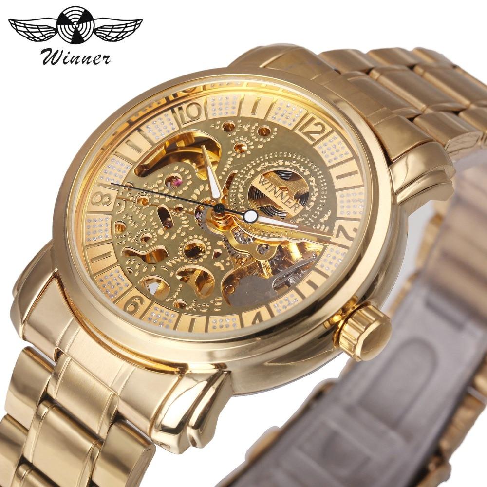 WINNER Top márka Deluxe nő minden arany automatikus mechanikus óra ... dd4d1e80dd