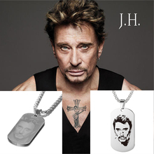 10pcs Custom Laser Engrave Pendant French Rocker Johnny Hallyday Collections Photo Engraved Anniversary Necklaces for Men SL 049