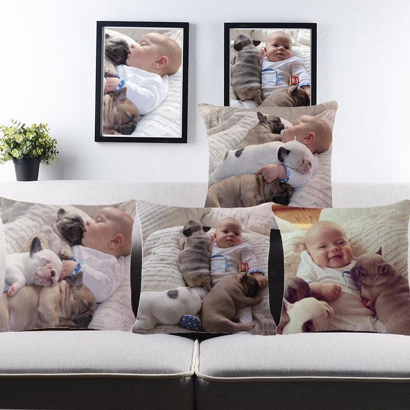Cheap Custom Photo Printing Baby Dog Polyester Cushion Throw 45Cmx45Cm Rectangle Lounger For The Beach Handmade Pillow Pads
