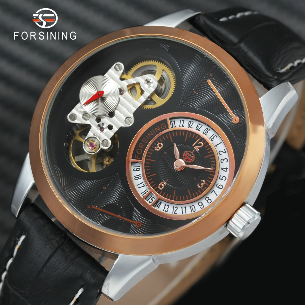 цены FORSINING Mechanical Wrist Watches for Men Double Second Hand Minute Hand Date Dial Leather Strap Automatic Luxury Watches