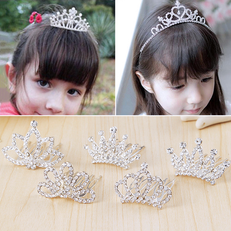 1Pcs Princess Bridal Crown Crystal Rhinestone Tiara Headband Lovely Girls Hair Band Children Hair Band Accessories 1 pcs lot new silver crystal rhinestone hairbands for women bridal wedding hair accessories tiara headbands crown hairwear