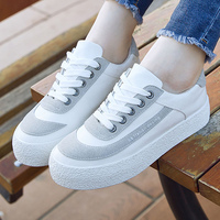 Shoes Woman Shallow Lace Up Spell Color Shoes Sewing Causal Canvas Platform Sneakers Fashion Vulcanize Women