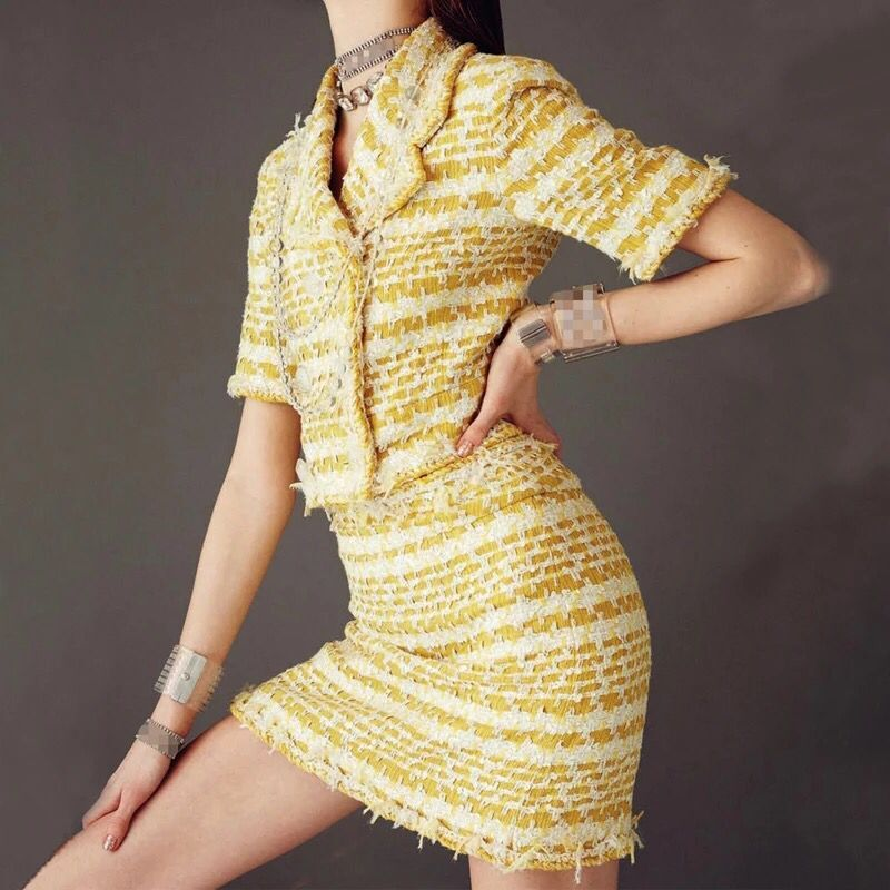 2018 autumn Fashion show yellow woven plaid tweed dress sleeveless skinny slim mini dress Both sides wear Deep V neck SUNDRESS