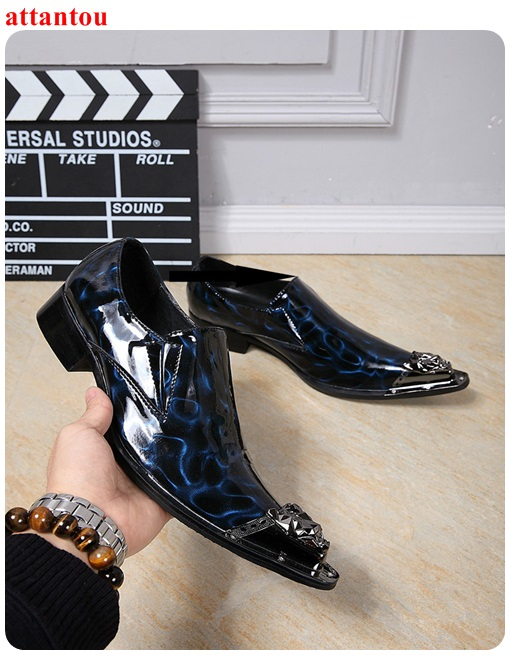 Men's Leather Shoes Blue Single Shoes Slippy Surface Male Casual Shoes Slip-on Man Office Meeting Feast Formal Shoes Autumn hot sale autumn silver pointed toe men dress shoes black leather luxury male casual shoes slip on man office feast formal shoes
