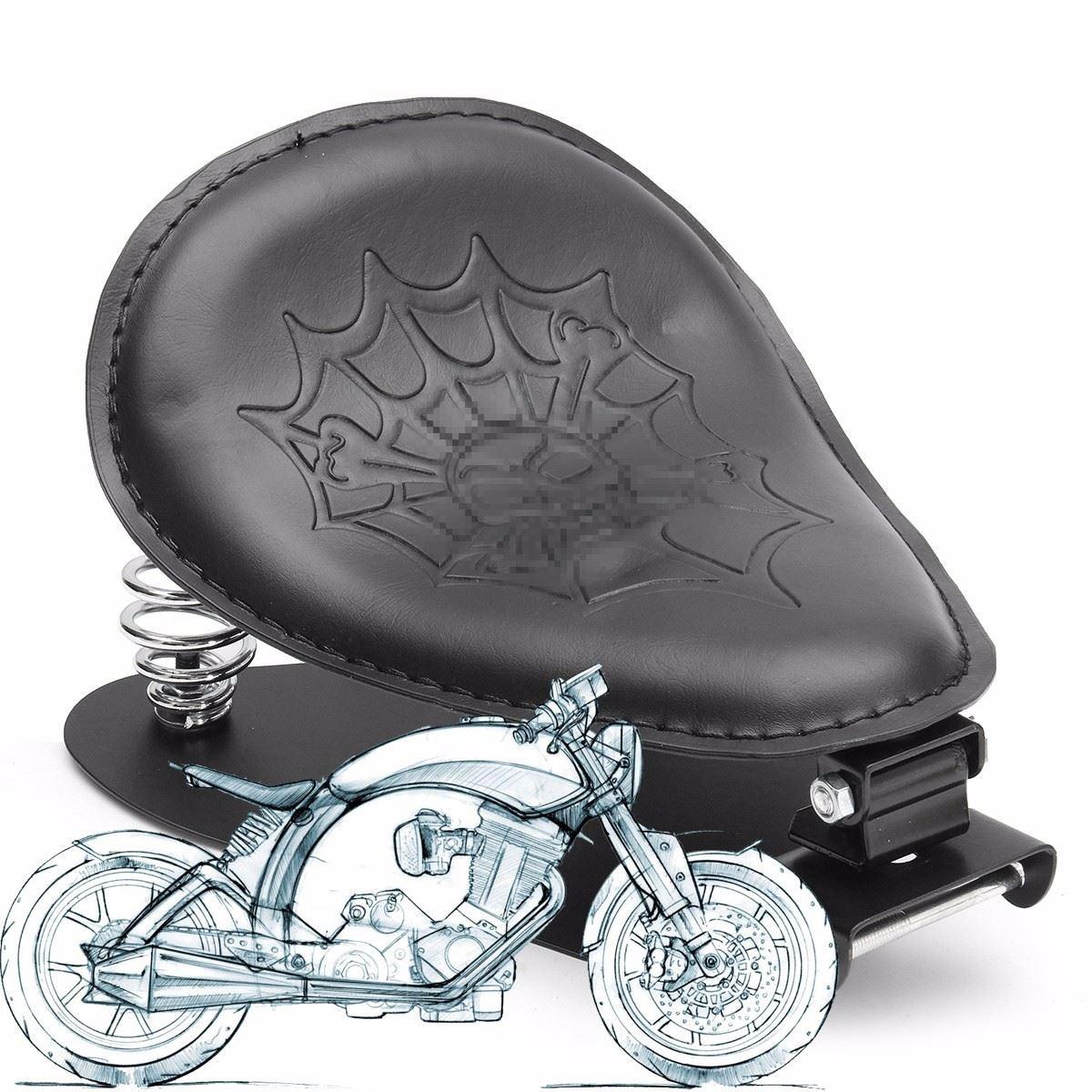 negro solo crneo de la motocicleta del soporte del asiento cojn de soporte de muelle para