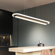 現代の Led ペンダントライトオフィスダイニングルームキッチンバーライトアクリル矩形照明器具ペンダントランプ家庭用