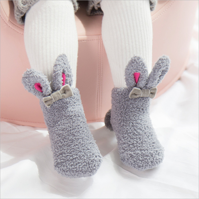 Toddler Winter Sock Anti-slip Cute Bunny Animal Indoor Socks Fleece Soft Warm Scok For Baby Girls Christmas Birthday Gift 2017