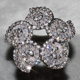 Wholesale Fashion Rings mix size 12PCS PER LOT AAA zircon,This product has 110 Pebble Grain, T 80 grain drill ALW1402