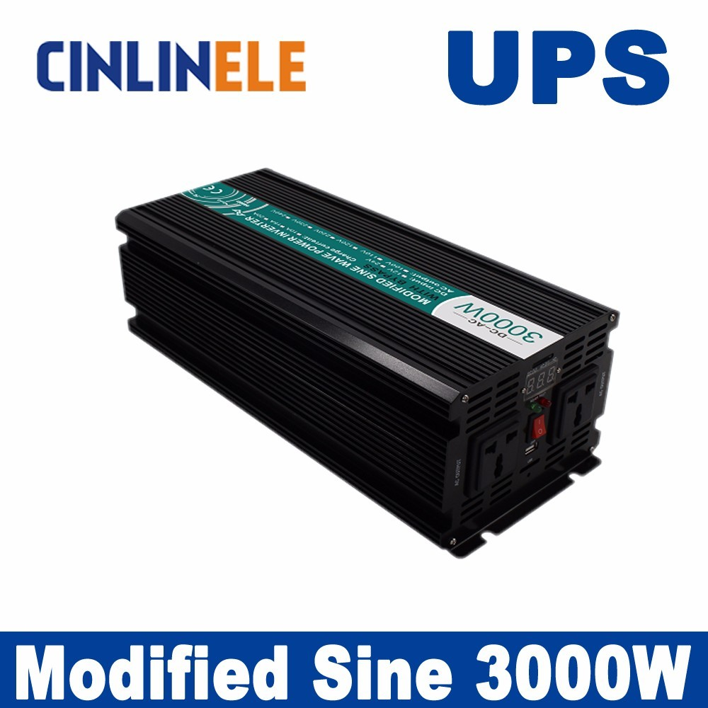 Universal inverter UPS+Charger 3000W Modified Sine Wave Inverter CLM3000A DC 12V 24V 48V to AC 110V 220V 3000W Surge Power 6000W 5000w dc 48v to ac 110v charger modified sine wave iverter ied digitai dispiay ce rohs china 5000 481g c ups