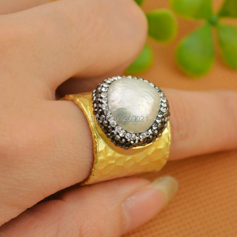 beautiful 5pcs Gold Color Rhinestone Crystal Rings Pearl Ring Jewelry Finding