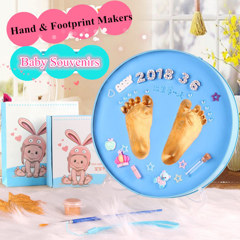 Baby Souvenirs Baby Handprint Footprint Non Toxic Newborn Imprint Hand Inkpad Watermark Infant Souvenirs Casting Clay Toys Gift