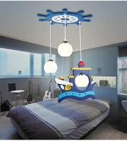 Детям игрушки современный пиратский корабль led подвесные светильники для мальчиков и девочек Теплые Спальня Творческий синий дерево мульт