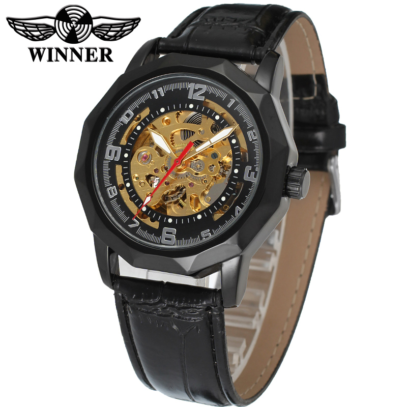 Fashion WINNER Men Luxury Brand Business Skeleton Leather Strap Watch Automatic Mechanical Wristwatches Gift Box Relogio Releges fashion winner men luxury brand business skeleton leather strap watch automatic mechanical wristwatches gift box relogio releges
