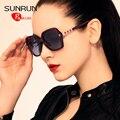 SUNRUN TR90 Grandes óculos de Armação Mulheres Óculos Polarizados Óculos de Design Óculos de Sol Do Vintage UV400 gafas de sol oculos TR6022