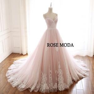 Image 2 - Hoa Hồng Moda Tuyệt Đẹp Bụi Hoa Hồng Hồng Áo Cưới Cổ V Phối Ren Váy Áo Với Hoa Ảnh Thật