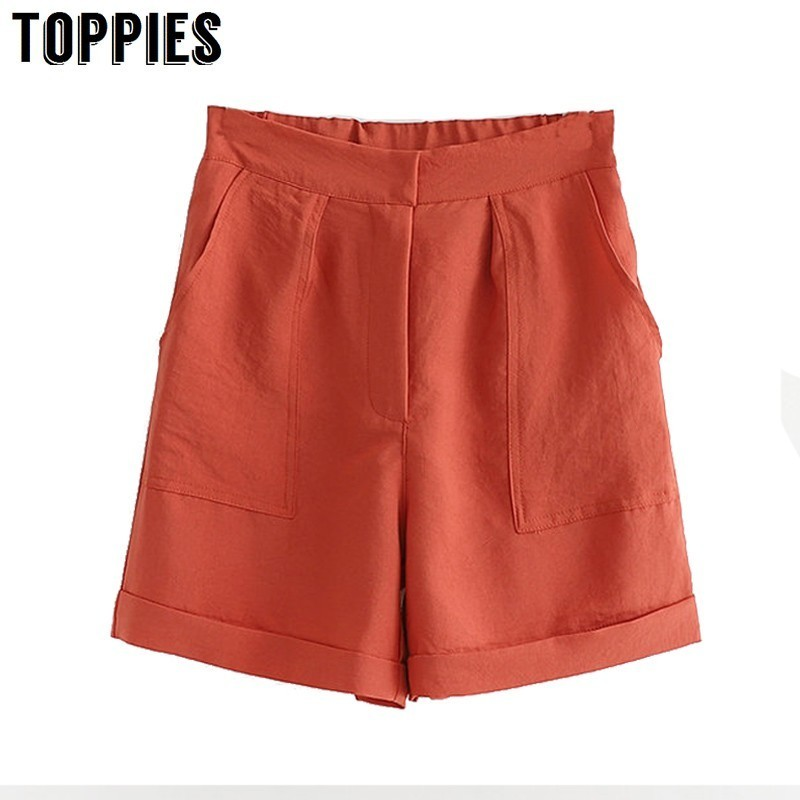 High Waist Pocket Straight   Shorts   Women Elastic Waist Bermuda   Shorts   Solid Color Summer Hot Trousers Casual Streetwear
