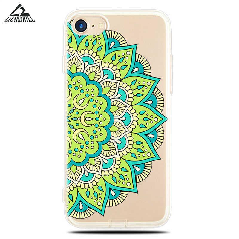 Lizardhill Retro Bloemen Bloemen telefoon Case Voor iphone 6 6 S Plus 7 7 PLUS Hollow Mandala Henna Cases soft TPU Siliconen Cover Capa