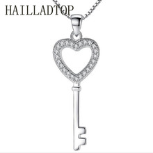 Beautiful Heart Key Long Necklace Silver Luxury Jewelry Crystal Choker Pendant Ladies Wedding Jewelry Cubic Zirconia