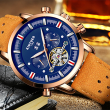 KINYUED Tourbillon Relógio Mecânico Homem Relógio Automático Calendário Multifuncional de Couro Dos Homens Marca de Moda de Luxo Mens Relógios