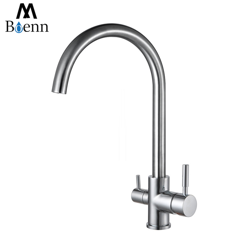 Drinking Water Faucet 3 Way Water Filter Purifier Kitchen Faucets For Sinks Taps 304 Stainless Steel