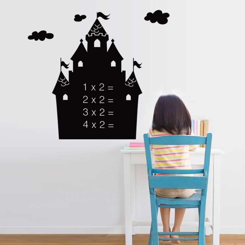 Cartoon Castle Removable Blackboard Sticker Bedroom Children's Room Classroom Kindergarten Graffiti Sticker 50*70cm