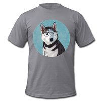 Fashion T Shirts Summer Straight 100 Cotton Short Men Husky Wolf In Glasses By American Apparel