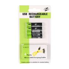ZNTER 4 pièces AAA Batterie 400 mAh AAA 1.5 V Jouets télécommande piles avec Micro USB Batterie Rechargeable