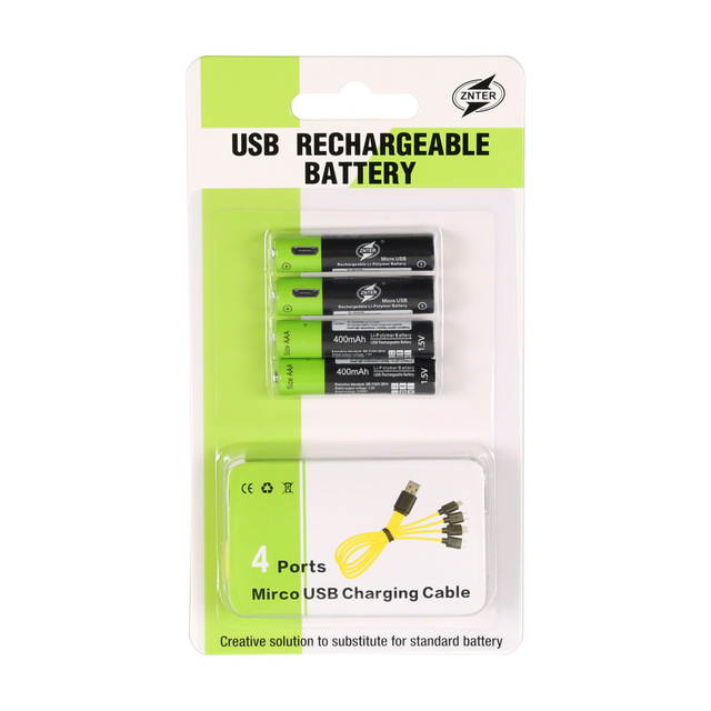 ZNTER 4PCS AAA Battery 400mAh AAA 1.5V Toys Remote controller batteries with Mirco USB Rechargeable Battery