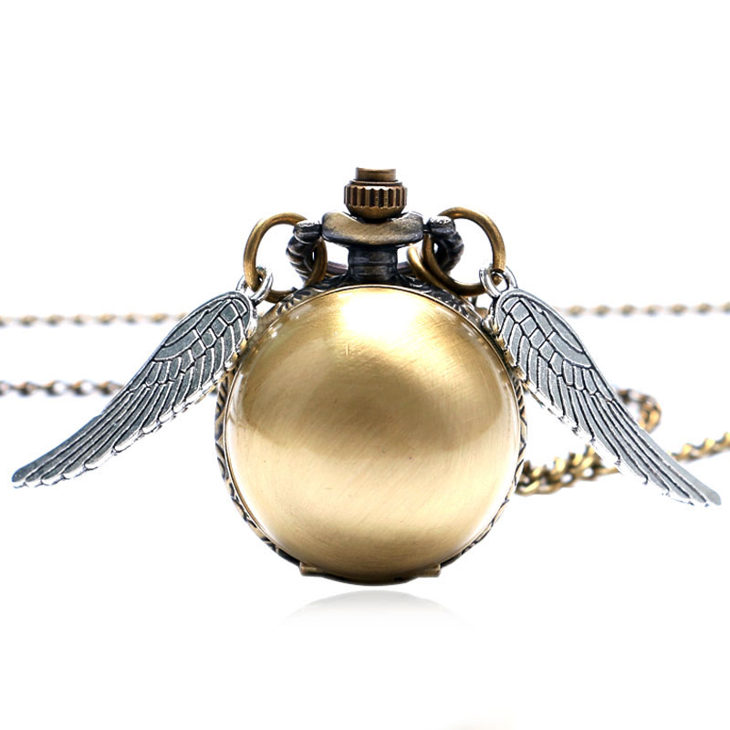 Fashion Wings Antique Steampunk Ball Quartz Pocket Watch Men Woman Children Boys Necklace Pendant with Chain Birthday Gifts P514 retro steampunk bronze pocket watch eagle wings hollow quartz fob watch necklace pendant chain antique clock men women gift