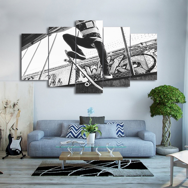 Canvas Wall Art Pictures Living Room Home Decor 5 Pieces Skateboard Extreme  Sports Painting Black White