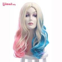 L email 가발 새로운 harleen quinzel 코스프레 가발 50cm 혼합 색상 합성 머리 peruca 할리 퀸 코스프레 가발