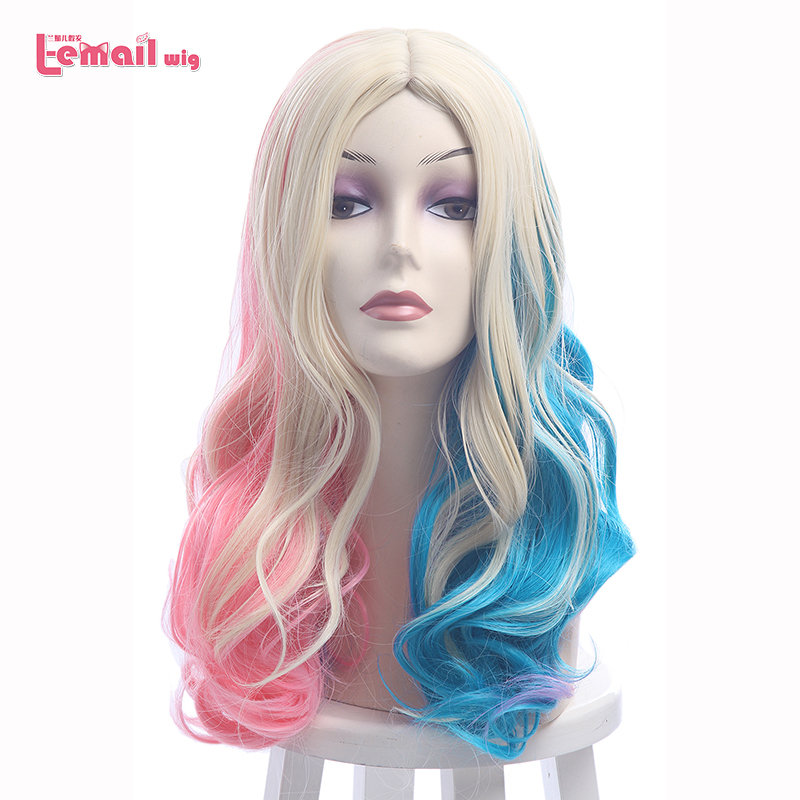 L-email peluca Nuevo Harleen Quinzel Cosplay Pelucas 50cm Color mezclado Pelo sintético Peruca Harley Quinn Cosplay Peluca