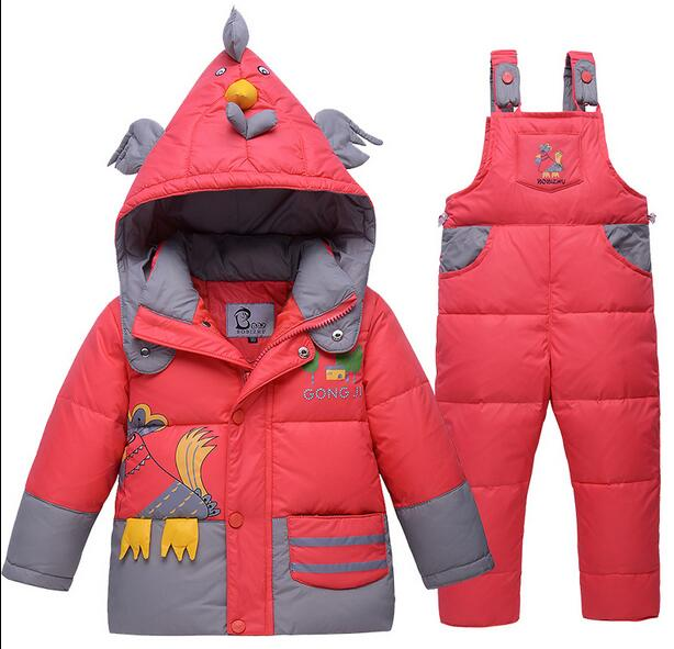 2017 Winter Children cartoon With thick warm Boys girls Baby white duck down jacket+pants suits Kids Coats sets vestidos parkas kids clothes children jackets for boys girls winter white duck down jacket coats thick warm clothing kids hooded parkas coat