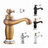 European copper faucet European antique hot/cold double basin mixed faucet blue and white porcelain tap