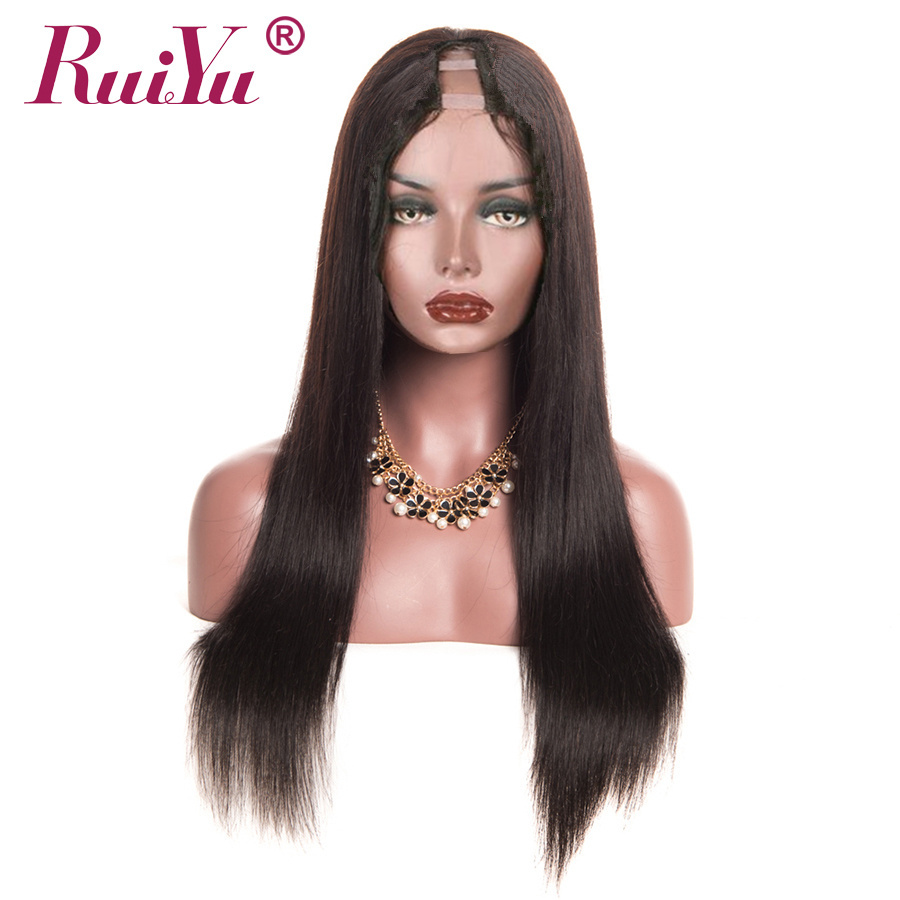 Brazilian Straight Human Hair U Part Wigs For Black Women Middle Part Brazilian Remy Hair Wigs RUIYU Hair Full End Lace Wigs
