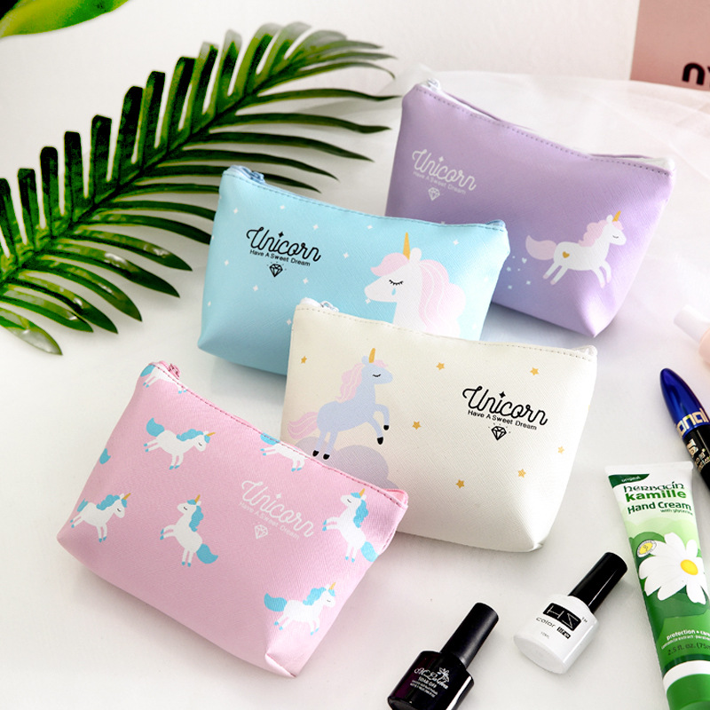Japan and South Korea Cosmetic bag Storage bag Large capacity Portable Waterproof Travel Portable Unicorn Wash bag