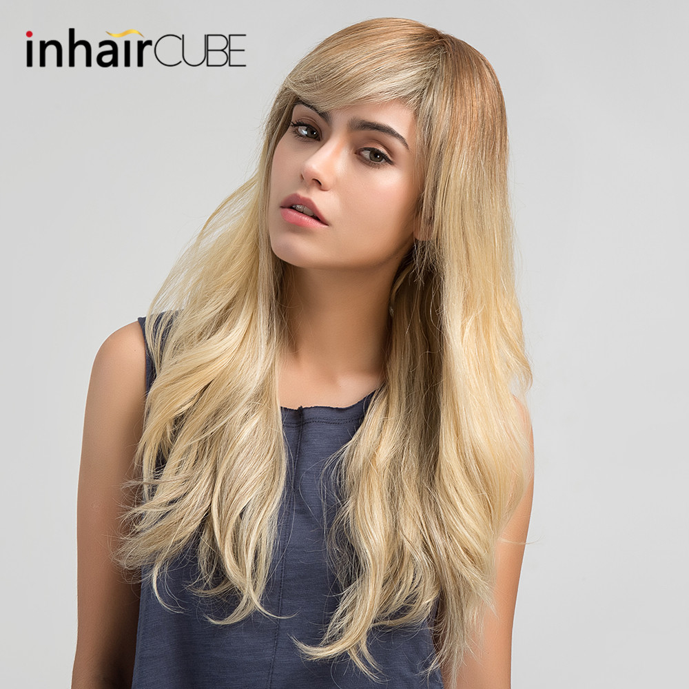 Inhair Cube 24 Inches Long Straight Blonde Wigs Mixed Human Hair Synthetic Wig with Side Bangs