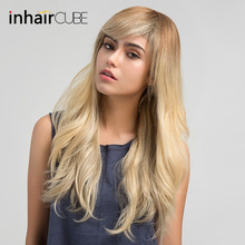 Inhair Cube 24 Inches Long Straight Blonde Wigs Mixed Human Hair Synthetic Wig with Side Bangs for White Women 5 Colors(China)