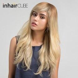 Inhair Cube 24 pouces de longues perruques blondes droites cheveux humains mélangés perruque synthétique avec frange latérale pour les femmes blanches 5 couleurs