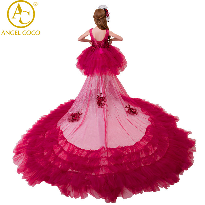 Princess Dress Flower Carnival Costume For Kids Clothes Catwalk Show Clothing Little Girl Red Gown Christmas Children'S Dresses gril flower dress multi storey white clothes stage girl performance children show clothes for dance with a pair of glove