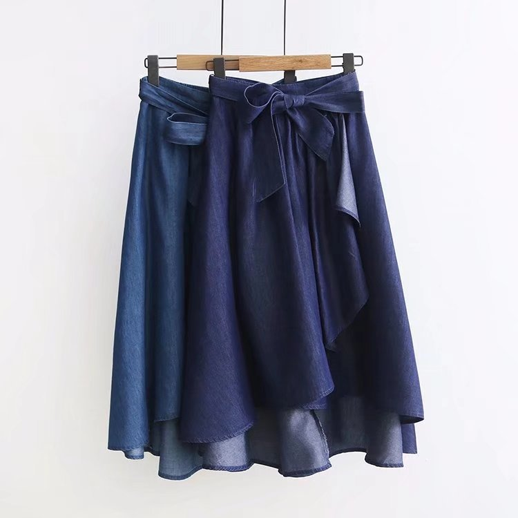 Tencel Verano Encaje Vintage 30002 Faldas Larga Mujer Nuevo Falda Denim Big Irregular Swing Alta Cintura TB0dBw4q